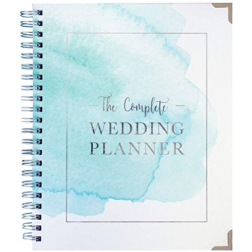 Wedding Planner Watercolor - Undated Bridal Planning Diary Organizer - Hard Cover, Pockets & Online Support
