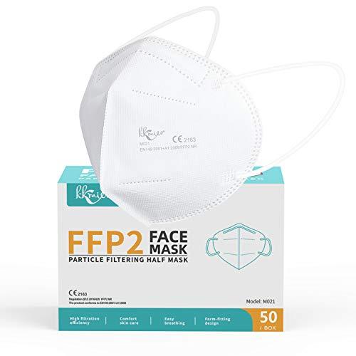 KKmier FFP2 Maske CE Zertifizierte 5 Lage Filterschutz Einweg-Atemschutzmasken Mundschutzmasken Weiß Einzel Verpakt 50 Stück