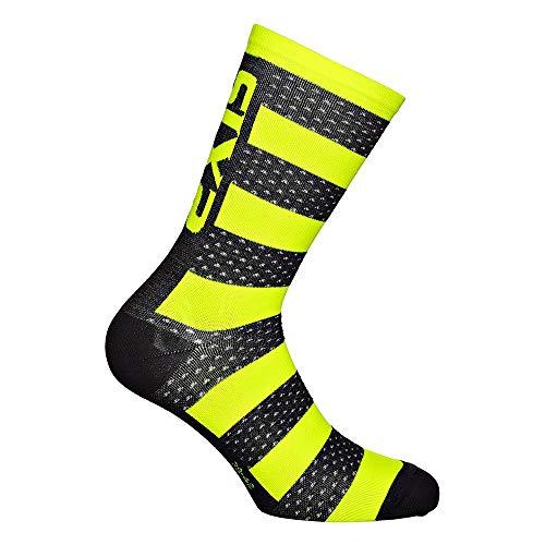 SIXS - Calcetines Arrow Merinos, negro/amarillo neón, talla 39 42