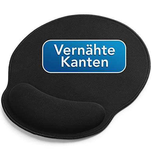 Sidorenko Mauspad mit Gelkissen - 26x23cm - Ergonomisches Mauspad mit Vernähte Kanten - Mousepad mit Handauflage für schonende Handgelenk Haltung - schwarz