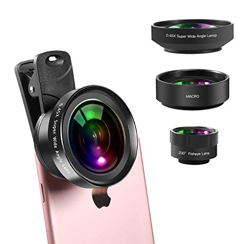 iPhone Lens,Wide Angle-Macro Lens (Screwed Together) and 230°Fisheye Lens for iPhone Camera Lens Kit with Android Samsung iPhone/Samsung/Google Pixel etc-Lens-iPhone