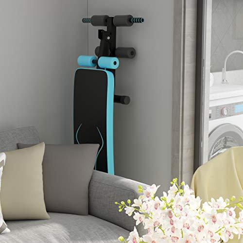 Goplus Adjustable Sit Up Bench, Abdominal Training Workout Slant Bench, Decline Curved Ab Bench for Home Gym Ab Exercises (Blue)