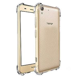 REY Funda Anti-Shock Gel Transparente para Huawei Y6 II 2016 - Huawei Honor 5A, Ultra Fina 0,33mm, Esquinas Reforzadas, Silicona TPU de Alta Resistencia y Flexibilidad