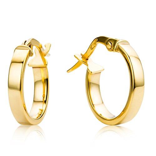 Miore Ohrringe Damen Creolen aus Gelbgold 9 Karat / 375 Gold, Ohrschmuck rund