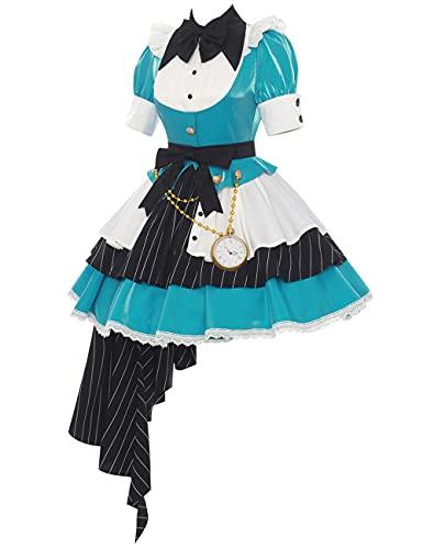 Anime Hatsune Miku Cosplay Disfraz Halloween Navidad fiesta traje Lolita vestido de criada para mujer conjunto completo-azul_L