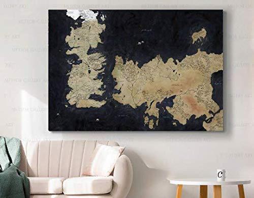 Cuadro de Juego de Tronos para pared, lienzo con mapa GOT para decoración de pared, arte de la película Westeros Essos Movie Greats 1...