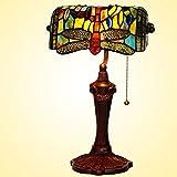 Decorativo de cristal de la lámpara Mesita de noche 10 pulgadas retro de la libélula de Tiffany Oficina lámpara de mesa de noche lámpara de mesa