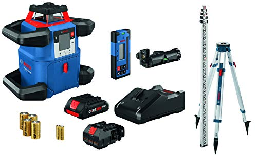 BOSCH REVOLVE4000 GRL4000-80CHK 18V Exterior 4000ft Range Horizontal Self-Leveling Cordless Rotary Laser Kit with Bluetooth Connectivity, Laser Receiver, CORE18V Battery, Tripod and Grade Rod