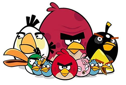 Angry Birds Tortenaufleger, Rechteckig A4 - Geburtstag Tortenbild Zuckerbild Tortenplatte Oblate Kuchenzuckerplatte