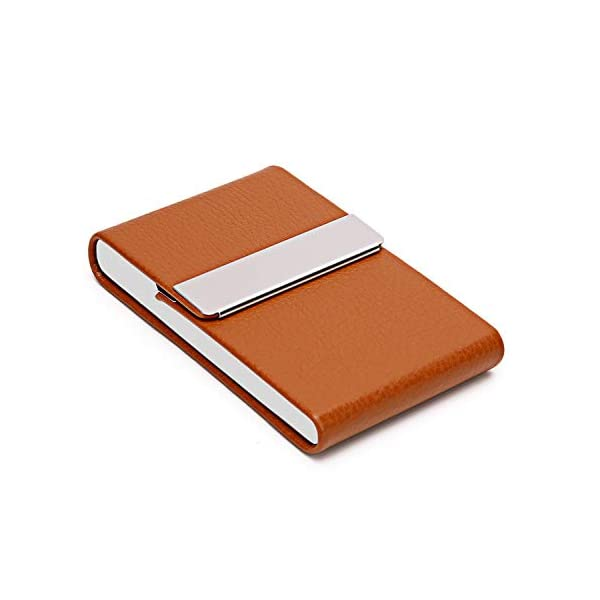 DMFLY Leather Business Card Holder Stainless Steel Business Card Case Name Card Holder Slim Metal Pocket Card Holder with Magnetic Shut