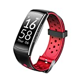 LIUDSASSBFQINGR Intelligente Armbänder Smart Watch Pulsmesser IP68 Wasserdicht Fitness Tracker Blutdruck GPS Bluetooth for Android IOS Frauen männer (Schwarz) Smart Wear. (Farbe : Red)