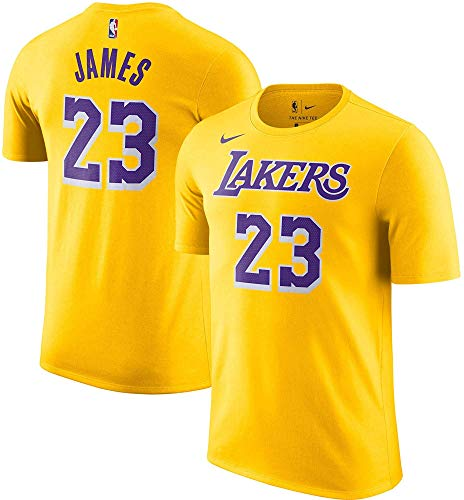 Nike Lebron James Los Angeles Lakers NBA Boys Kids 4-7 Yellow Icon Edition Player Name & Number Dri-Fit T-Shirt (Kids 5/6)