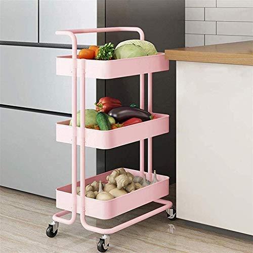 GFL Carro Utilitario Rodante Multiusos, Organizador de Cocina General, Estante Enrollable para Carrito de Servicio para Cocina Baño Office con Ruedas 3 Plantas (Color : Pink)
