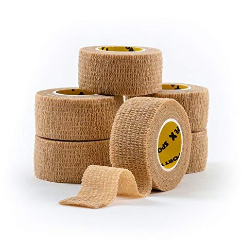 6 Rollen SPORTTAPE Cohesive Compression Bandage - 2,5 cm x 4,5 m - BEIGE - Selbstklebend, Tierarztband, Daumenband, Coban Cohesive Wrap