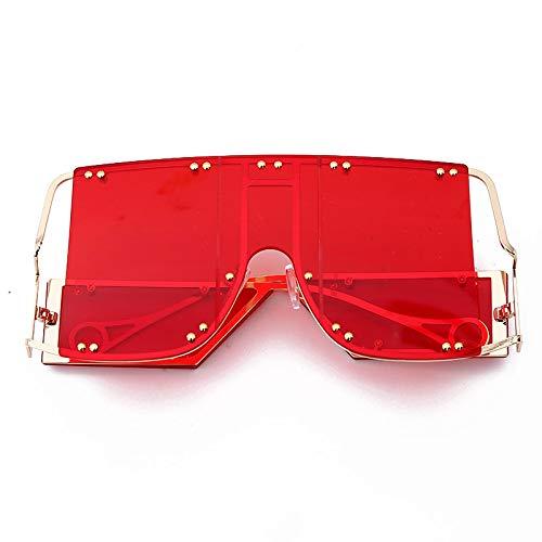 ShZyywrl Gafas De Sol De Moda Unisex Gafas De Sol Cuadradas De Moda para Mujer, Espejos De Gran Tamaño para Hombre, Gafas con Remaches De Metal, Tendencia Únic