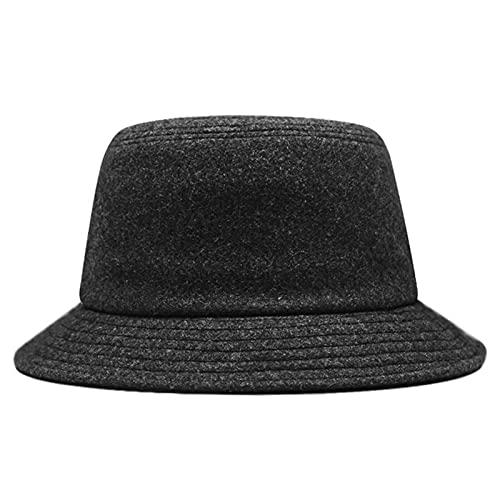 Sombrero de Copa Big Head Hombres Wool Fisherman Hat Hombrillo Hombre Invierno Panamá Cap Hombre Plus Tamaño Fieltro Sombrero Cubo 56-60 Cm 60-65Cm-Dark Grey,60-65Cm