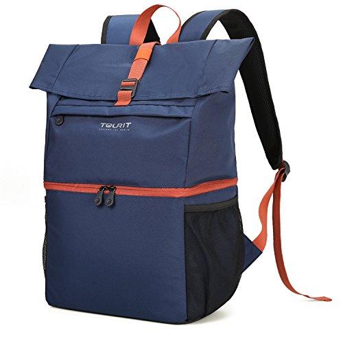 TOURIT Leicht Rucksack Kühltasche mit Laptopfach für Laptop bis zu 15,6 Zoll Doppelte Schicht für Arbeit, Reisen, Camping, Wandern Dunkelblau