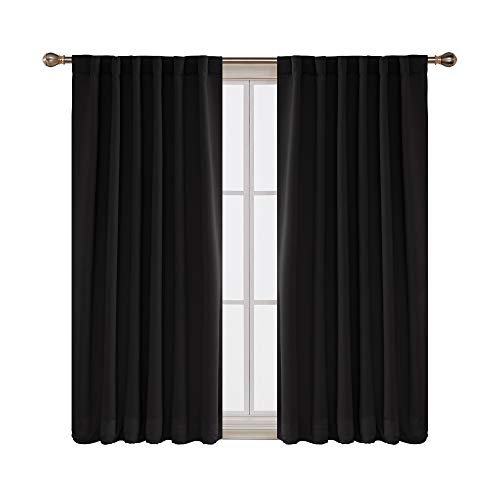 Deconovo Back Tab and Rod Pocket Curtain Panels Thermal Insulated Blackout Curtains for Bedroom 52x63 Inch Black 2 Panels