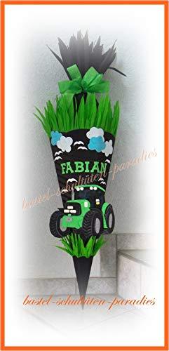 Schultüten Bastelset Traktor schwarz-hellgrün