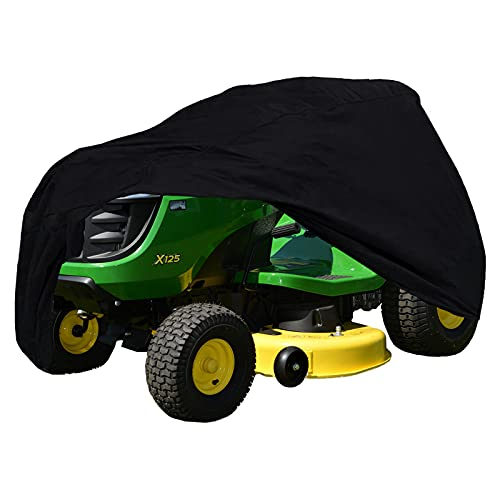 """Szblnsm Outdoors Lawn Mower Cover - Waterproof Tractor Cover Fits Decks up to 54"""" Made of Thick Heavy Duty 420D Polyester Oxford, UV Protection Universal Fit with Drawstring Storage Bag"""