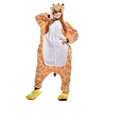 Wanziee - Pijama de Jirafa Unisex para Adulto, de Felpa de una Pieza, Disfraz de Animal, con Capucha, Talla S, M, L, XL