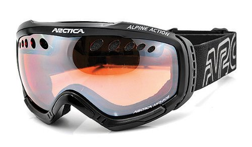 Arctica–Gafas de esquí/snowboard–Sistema de refrigeración de aire–antivaho–Sistema de doble lente, compatible con casco Negro negro