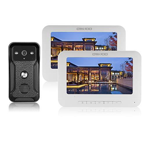 OWSOO 7 Pulgadas Videoportero Cableado 2 Monitor Interior + 1 Cámara Exterior IR-Cut Impermeable Soporte Visual de Dos Vías Intercom Audio Desbloqueo Remoto