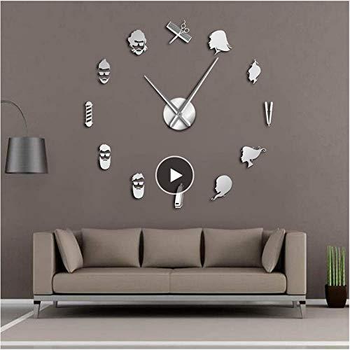 xtmyz Relojes de Pared Bricolaje Tijeras de barbero Salón de Belleza DIY Arte de Pared Reloj de Pared Gigante Gran Aguja Barbería sin Marco Tienda Peluquería Reloj de Pared Grande