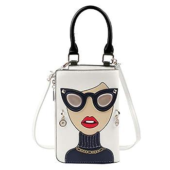 Kuang Women Novelty Lady Face Shoulder Bags Funky PU Leather Top Handle Satchel Handbags Clutch Purse for Women