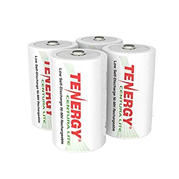 Tenergy Centura Lite 1.2V NiMH Rechargeable D Battery 3000mAh Low Self Discharge D Cell Batteries Pre-Charged D Size Battery UL Certified 4 Pack