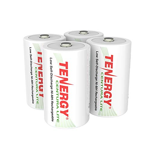 Tenergy Centura Lite 1.2V NiMH Rechargeable D Battery, 3000mAh Low Self Discharge D Cell Batteries, Pre-Charged D Size Battery, UL Certified, 4 Pack