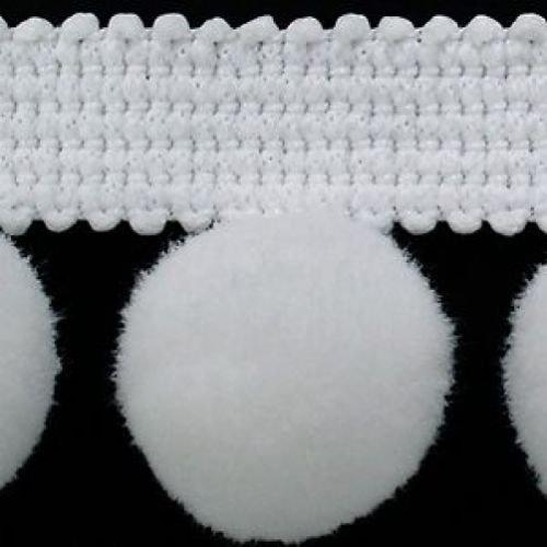 XL Pom Pom frange Garniture Bobble galon – Taille XL 2 cm (2 cm) Best Qualité. (par mètre) # C Blanc