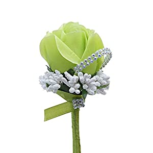 KUKISHOP 2 PCS Wedding Boutonniere Artificial Flower Groom Groomsman Corsage Rose Silk Suit for Wedding Prom Homecoming Green