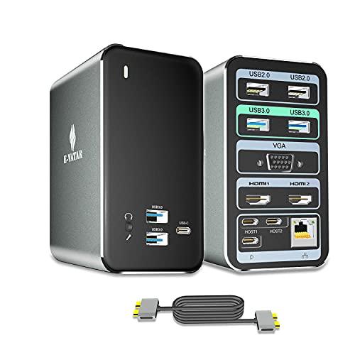 USB C Dockingstation, FAMILYCRAZY 15 Ports Laptop Docking Station für MacBook Pro/Air, Triple Display, 4K-HDMI, VGA, Schnellladung, RJ45 Ethernet, 6 USB A und 3 USB C Anschlüsse, 3.5mm Audio/Mic