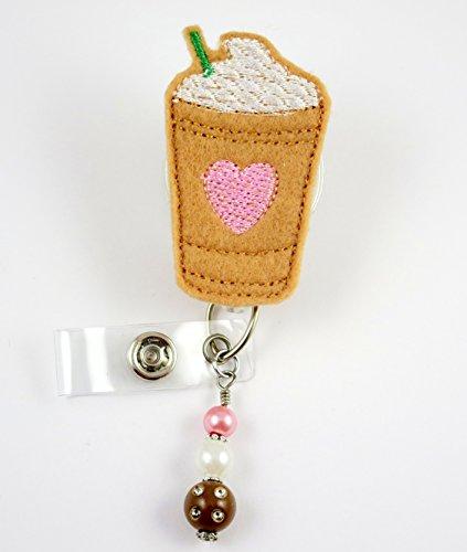 Iced Coffee Latte with Pink Heart - Nurse Badge Reel - Retractable ID Badge Holder - Nurse Badge - Badge Clip - Badge Reels - Pediatric - RN - Name Badge Holder