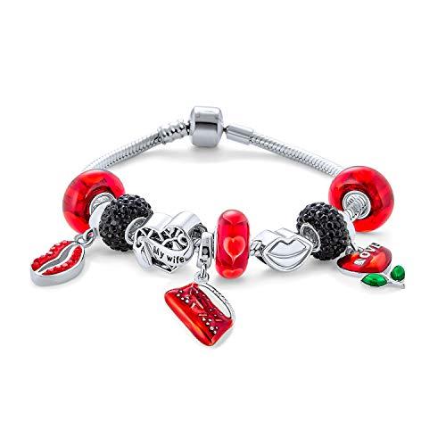 Sexy Lovers Kissing Lips Red Enamel Valentine's Day Theme Starter Beads Multi Charm Bracelet for Women 925 Sterling Silver Snake Chain European Barrel Clasp Bracelets 6.5 7.5 8.5 Inch red