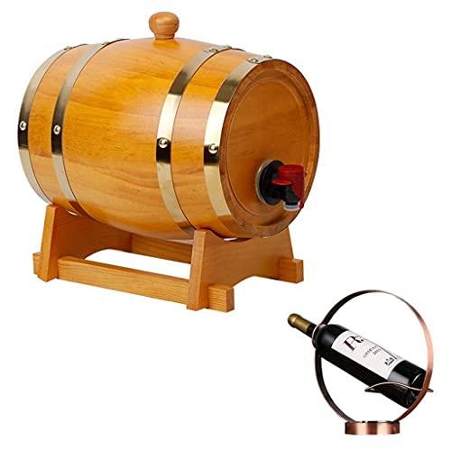 GAXQFEI Los Barriles de Roble Puro, el Barril de Whi, el Cubo de la Decoración Del Restaurante de la Barra de Madera con Estante de Vino Se Pueden Utilizar Como un (Negro Amarillo, 15L),Amarillo,15L