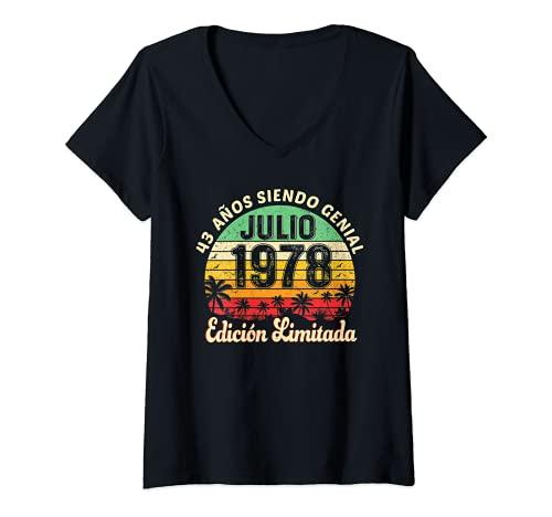 Mujer 43 Años Cumpleaños Hombre Mujer Vintage Nacido En Julio 1978 Camiseta Cuello V