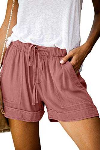 FEKOAFE Summer Casual Drawstring Elastic Waist Beach Shorts for Women Black Plus Size Shorts Pink L