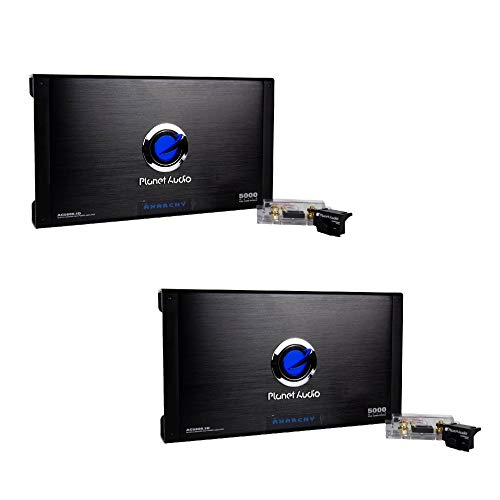 Planet Audio AC5000.1D Anarchy 5000 Watt Max Mono Class D MOSFET Power Car Amplifier with Bass Boost, Black Remote (2 Pack)
