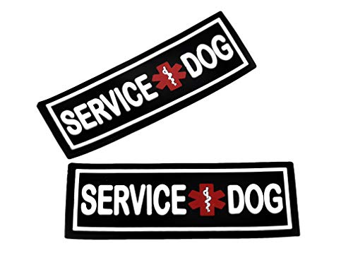Dogline Service Dog Patch for Harness and Vest Removable 3D Rubber Patches Hook Backing for Small or Large Working Dogs