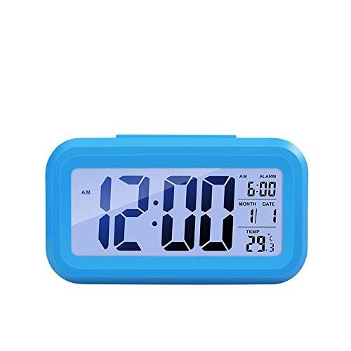 BNMMJ Digitale wekker Tijd Digitale LCD-scherm Snooze-functie Elektronische achtergrondverlichting Sensor Nachtlampje Bureau Student Kinderklok