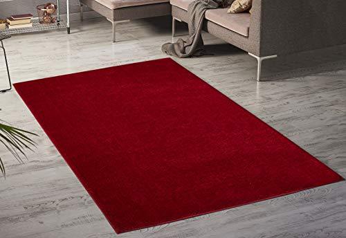 Serdim Rugs Paris Wohnzimmer-Teppich, schimmernd, Polyester, Rot, 60 x 110 cm