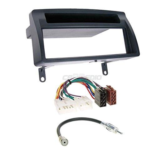 Carmedio Toyota Corolla E12 01-07 1-DIN Autoradio Einbauset in original Plug&Play Qualität mit Antennenadapter Radioanschlusskabel Zubehör und Radioblende Einbaurahmen dunkelgrau