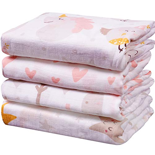 Viviland - Manta de muselina para bebé con caja de regalo, 70% bambú 30% algodón, 4 paquetes, 47 x 119 cm, unicornio, estrella, amor, árbol