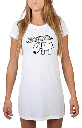 Goodman Design ® Damen Longshirt Nachthemd - Hund Motiv: Bleib Mir Lieber fern Mein Hund kann Karate! - Farbe: Weiss