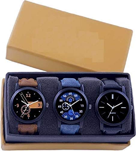 LEVERETAnalogurUniqueMensClubComboPackof3Watches