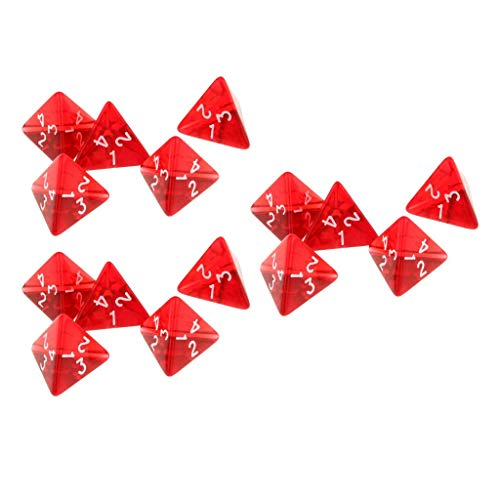 Fliyeong 15-teiliges rotes Würfel-Set D4 Vierseitige Edelsteinwürfel 2 cm 4-Würfel-RPG-Würfel-Spieler-Zubehör Langlebig und nützlich