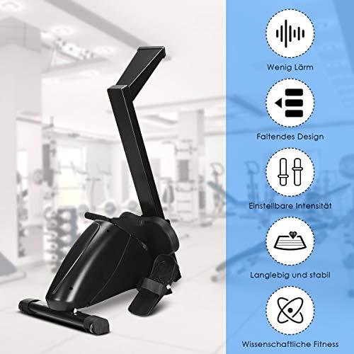 GOPLUS Rudergerät mit Magnetbremssystem, Rudermaschine Klappbar, Ruderzugmaschine mit 10 Widerstandsstufen, Heimtrainer, Nutzergewicht bis 120 kg, Leise, Fitnessgerät für das Ausdauertraining zu Hause - 2