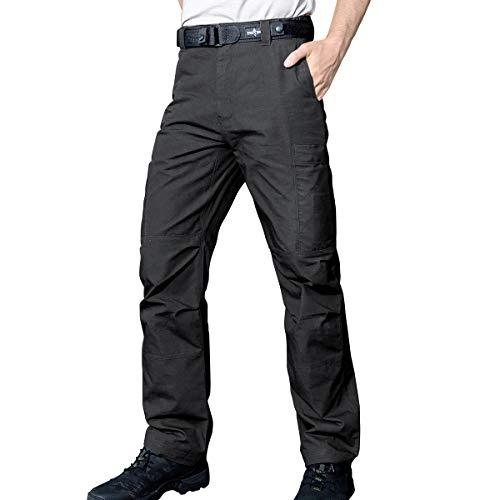 FREE SOLDIER Men's Waterproof Tactical Cargo Pants Lightweight Ripstop Hiking Work Pants with Pockets (Dark Grey,30W/30L)